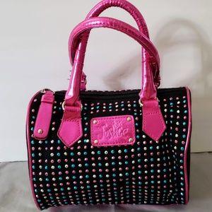 Justice purse black, pink multi color embellisish